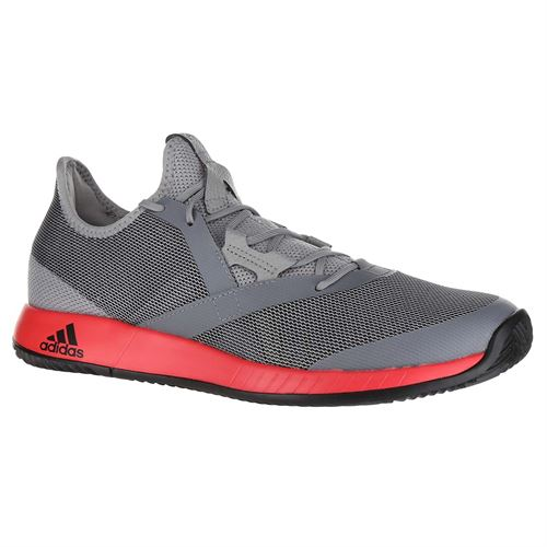 huge discount 4951e e7553 adidas Adizero Defiant Bounce Mens Tennis Shoe - Light GraniteShock  RedCore Black