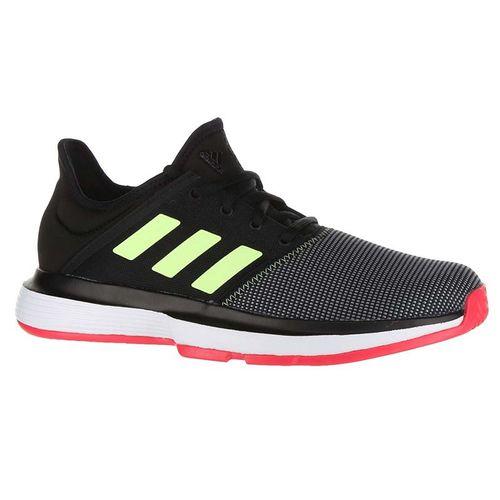 adidas Sole Court XJ Junior Tennis Shoe - Black/Hi Res Yellow/Shock Red