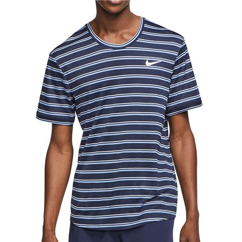 Nike Court Dri Fit Crew Shirt Mens Obsidian/White CI9144 451