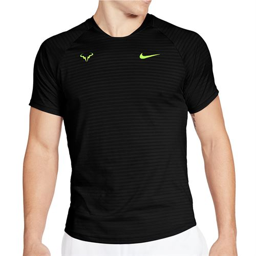 Nike Court Aero React Rafa Slam Crew Shirt Mens Black/Volt CI9152 010