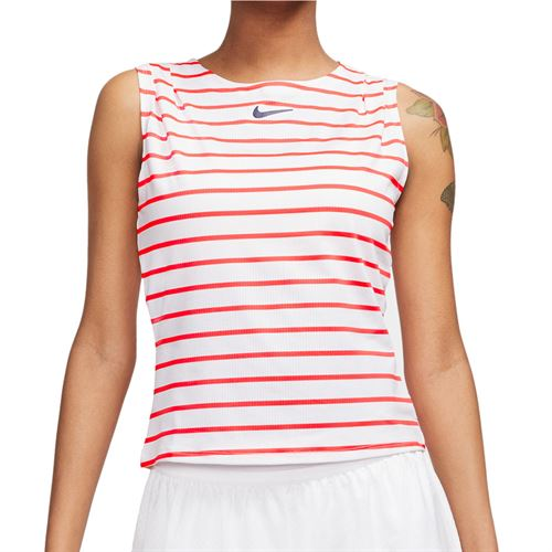 Nike Court Dri Fit Maria Sleeveless Top Womens White/Laser Crimson/Blackened Blue CI9370 101