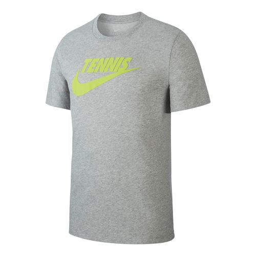 Nike Court Tennis Graphic Tee - Dark Grey Heather/Volt