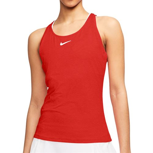 Nike Court Dri Fit Tank Womens Habanero Red/White CJ0942 634