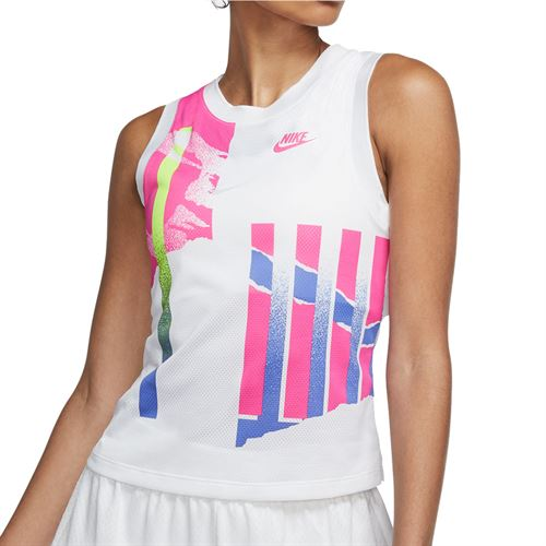 Nike Court NYC Slam Tank - White/Hot Lime