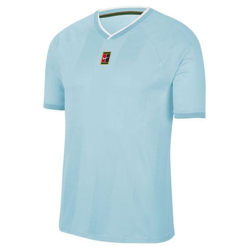 Nike Court Breathe Slam Crew Shirt Mens Topaz Mist/White CK9799 449