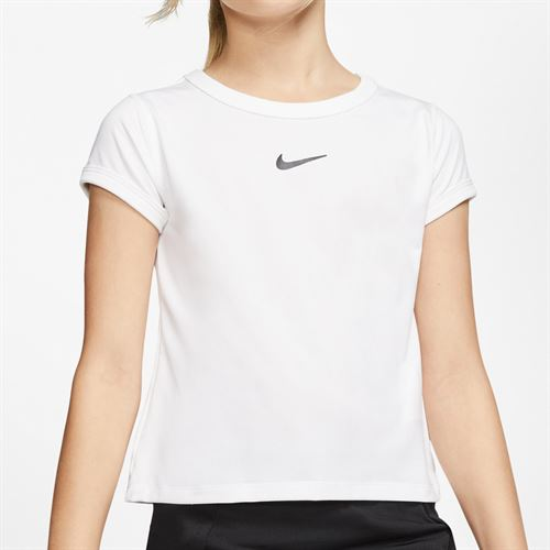 Nike Girls Court Dri Fit Top White/Black CQ5386 100
