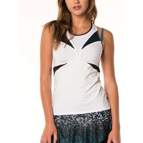 Lucky in Love Active Fit Monarch Stamina Tank - White/Poseidon