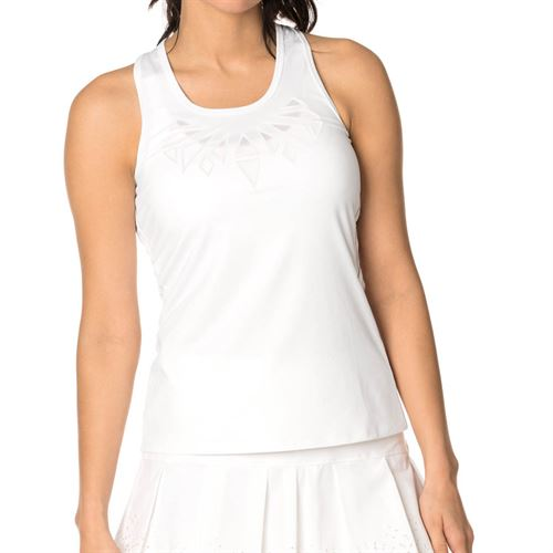 Lucky in Love Laser Cutwork Applique Tank - White