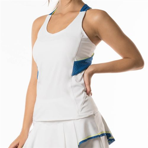 Lucky in Love Axis Point Twist Back Tank - White