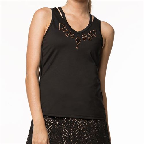 Lucky in Love Metallic V Neck/Cutout Tank Womens Black/Rose Gold CT570 857010