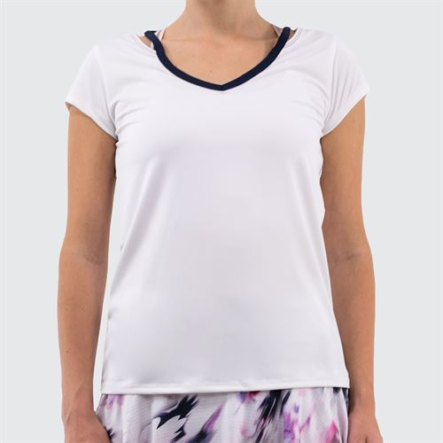 Lucky in Love Lush Daze V Neck Short Sleeve Top - White