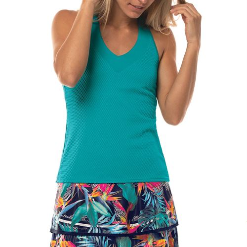 Lucky in Love Wavy V Neck Tank Womens Teal CT644 308