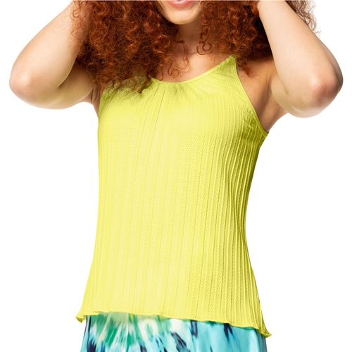 Lucky in Love Peace Out Pleated Strappy Tank Womens Lemon Frost CT648 718