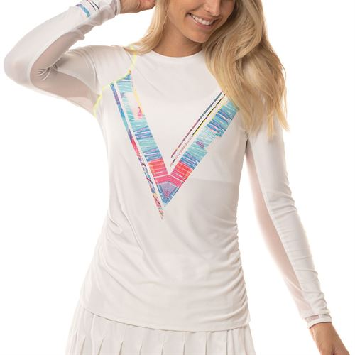 Lucky in Love Mad About Plaid Love Line Long Sleeve Top Womens White CT659 A05955