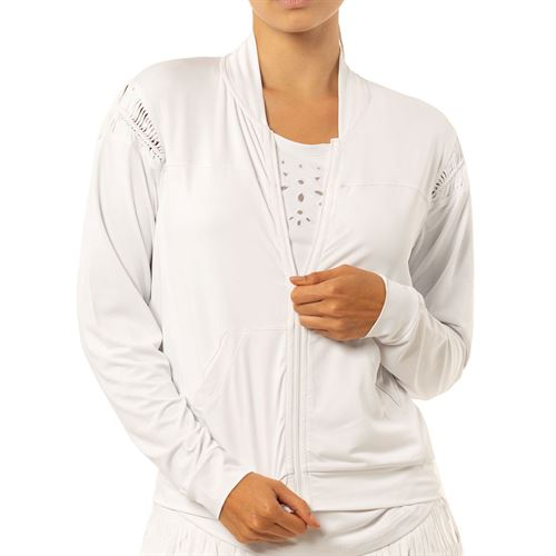 Lucky in Love Eyelet Go Macramae Jacket Womens White CT683 110