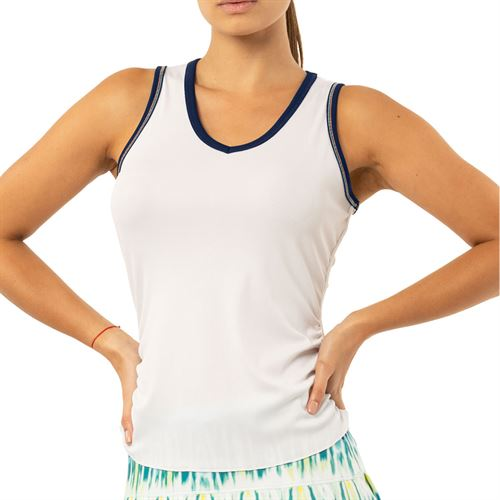 Lucky in Love Peace Out Lightweight Rib Tank Womens White/Midnight CT688 122