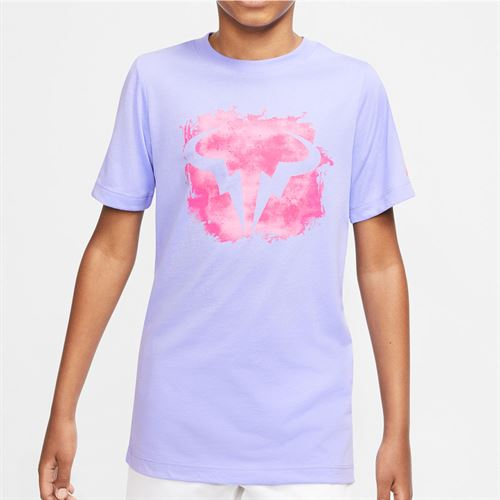 Nike Boys Court Dri Fit Rafa Tee Shirt Purple Pulse/Digital Pink CU0337 532