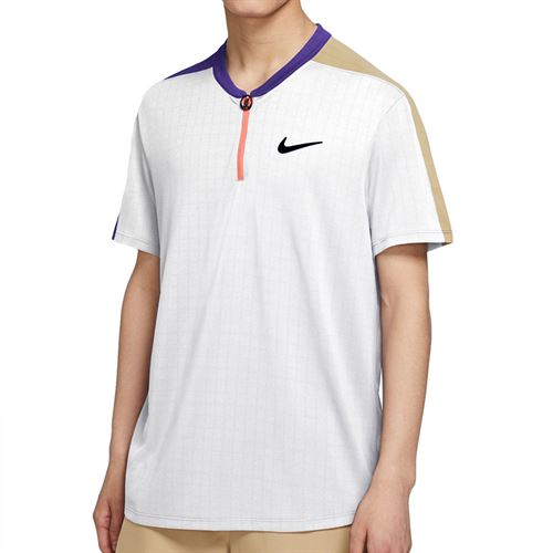Nike Court Breathe Slam Crew Shirt Mens White/Wild Berry/Parachute Beige/Black CV2491 100