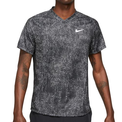 Nike Court Dri FIT Victory Shirt Mens Black/White CV7858 010