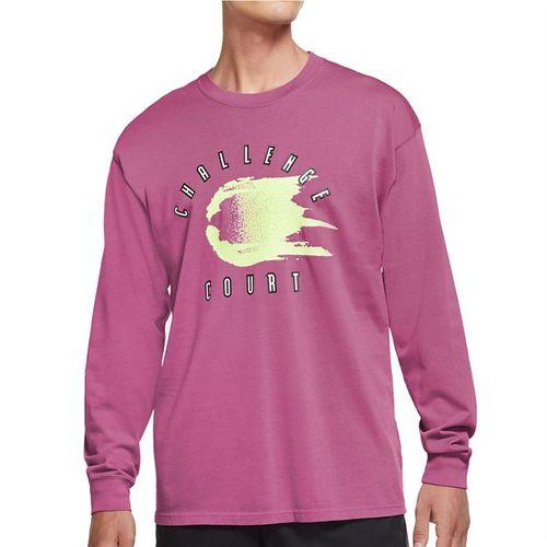 Nike Court Long Sleeve Tee Shirt Mens Laser Fuchsia CW1530 686