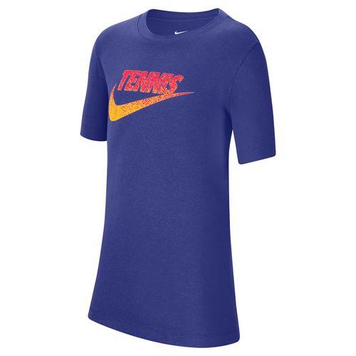 Nike Boys Court Tee Shirt Light Concord/Laser Orange/Laser Crimson CW1538 471