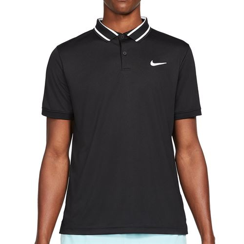 Nike Court Dri FIT Victory Polo Shirt Mens Black/White CW6848 010