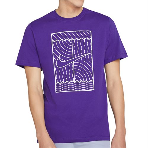 Nike Court Tee Shirt Mens Court Purple/White DC5246 547