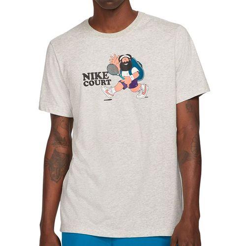 Nike Court Tee Shirt Mens Grey Heather DC5376 050
