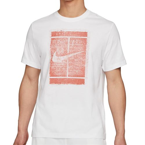Nike Court Logo Tee Shirt Mens White/Martian Sunrise DD2228 100