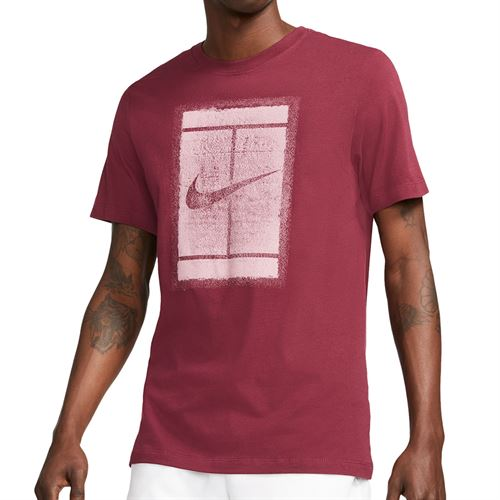 Nike Court Logo Tee Shirt Mens Dark Beetroot/Elemental Pink DD2228 638