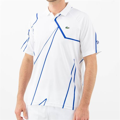 Lacoste Novak Djokovic Ultra Dry Vertical Polo Shirt Mens White/Royal Blue DH6235 Q92