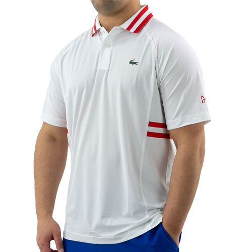 Lacoste SPORT x Novak Djokovic Breathable Polo - White/Fireman