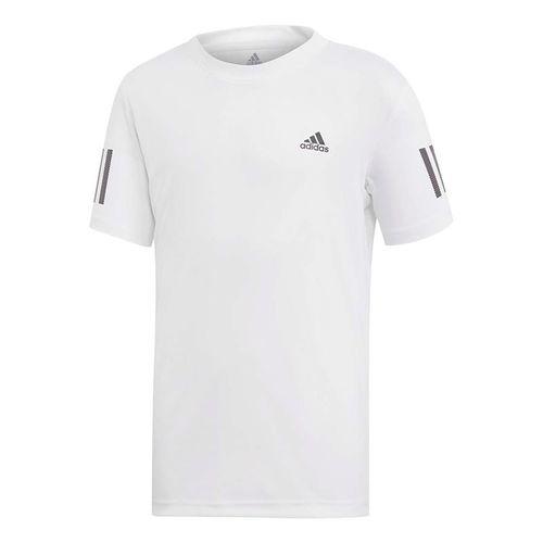 adidas Boys Club 3 Stripe Tee Shirt White/Black DU2486