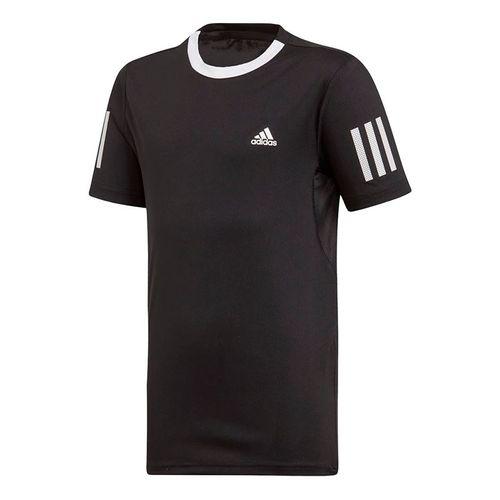adidas Boys Club 3 Stripe Tee Shirt Black/White DU2487