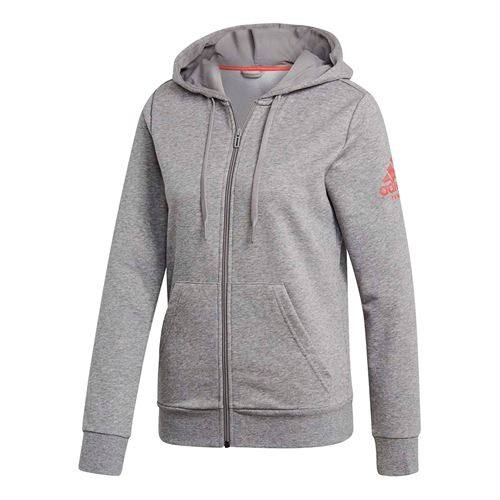 adidas Club Hoodie - Core Heather/Shock Red