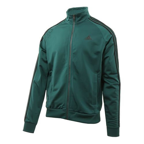 adidas Essentials 3 Stripe Tricot Jacket - Noble Green/Black