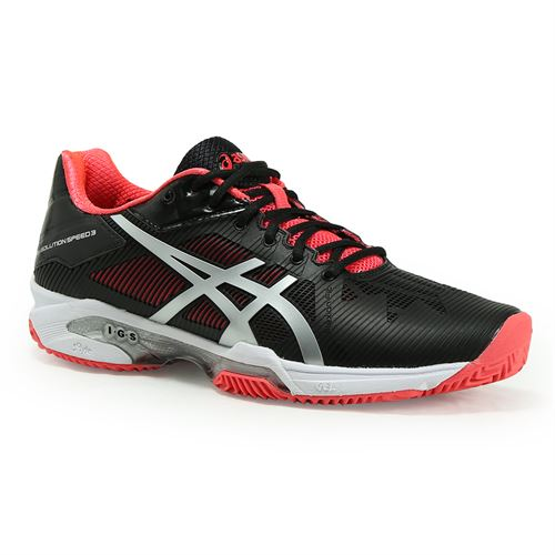 7753b7f9e Asics Gel Solution Speed 3 Clay Womens Tennis Shoe - Black/Silver/Dive Pink
