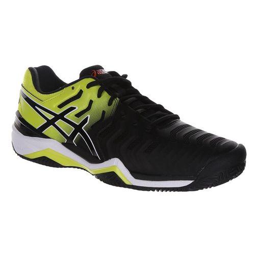 Asics Gel Resolution 7 Clay Mens Tennis Shoe - Black/Sour Yuzu