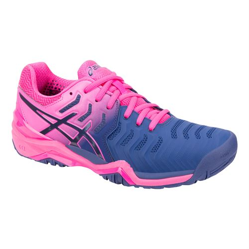 0d7722955d56 Asics Gel Resolution 7 Womens Tennis Shoe - Pink Blue Print