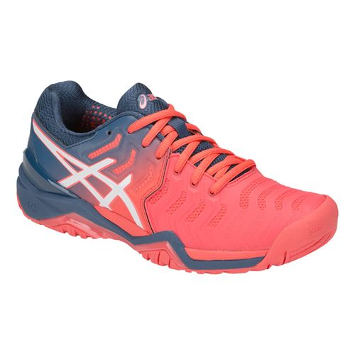Asics Gel Resolution 7 Womens Tennis Shoe - Papaya/White