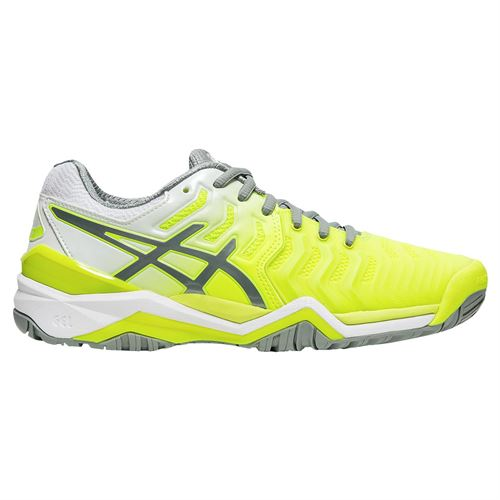 Asics Gel Resolution 7 Womens Tennis Shoe - Safety Yellow/Stone Grey