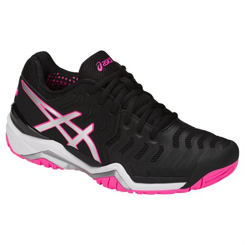 Asics Gel Resolution 7 Womens Tennis Shoe - Black/Silver/Hot Pink E751Y 9093