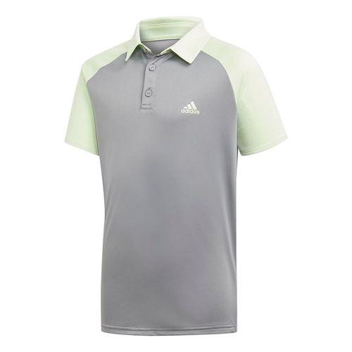 adidas Boys Club Polo - Glow Green/Grey Heather