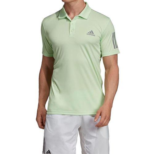 adidas Club 3 Stripe Polo - Glow Green/Grey Heather