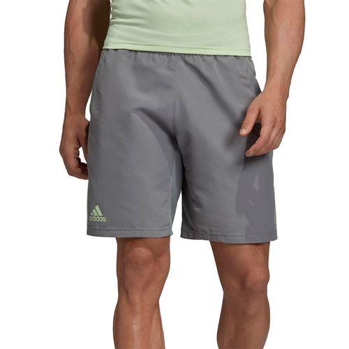 adidas Club 3 Stripe Short - Grey Heather/Glow Green