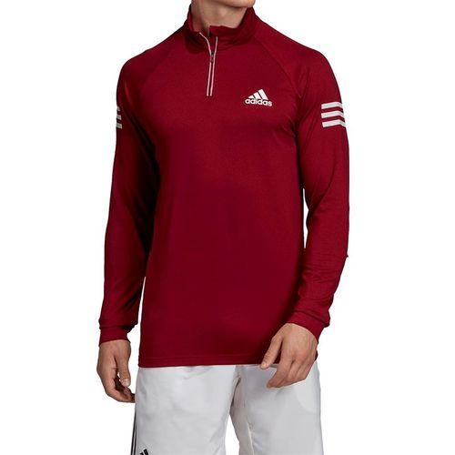 adidas Club 1/4 Zip Midlayer - Collegiate Burgundy/Hi Res Coral