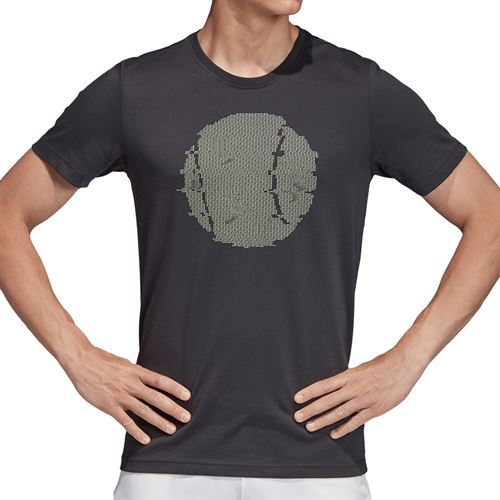 adidas Flushing Graphic Tee Shirt Mens Carbon ED6188