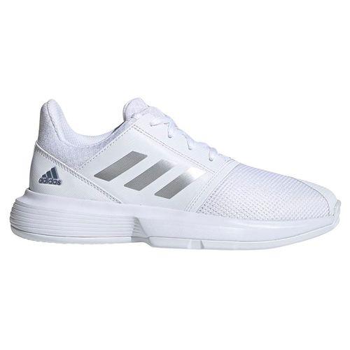 adidas Court Jam Junior Tennis Shoe - White/Sliver Metallic/Tech Ink