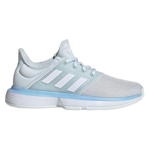 adidas Sole Court Junior Tennis Shoe - Blue Tint/White/Glow Blue