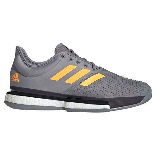 adidas Sole Court Boost Mens Tennis Shoe - Grey Three/Flash Orange/Carbon